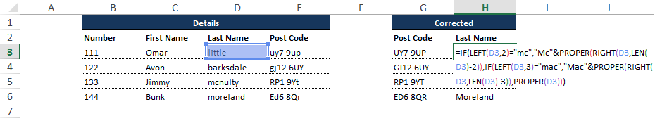Microsoft Excel Last Name Correction